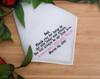 Father of the Bride Gift. Custom Handkerchief. Linen Hankie / Hanky . Personalized Handkerchief. Embroidered Wedding gift for Dad.