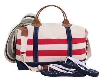 Preppy Monogrammed Weekender Bag, Monogram Weekender, Monogram Duffle, Overnight bag, Travel Bag, Weekender Bag Canvas, Monogram Bridesmaid