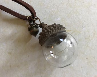A Dandelion Wish in a Bottle! Necklace Dandelion Seed Wish Antique Bronze Leather Outdoors Lodge Up North Woods Forest Nature DA142