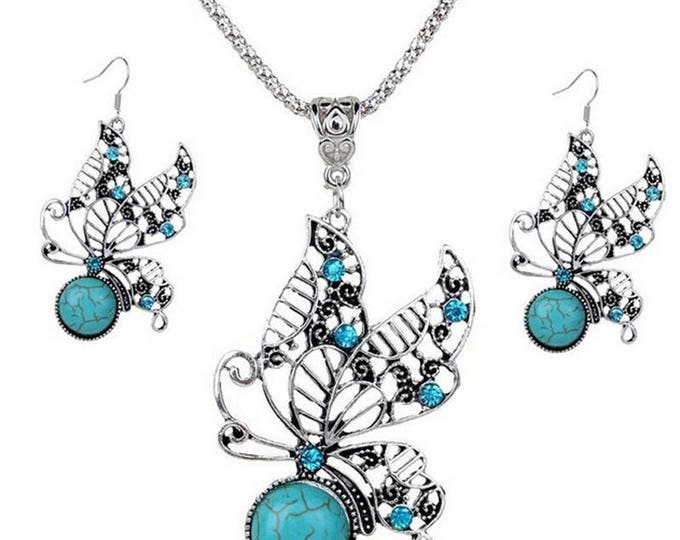 Exquisitely Detailed Jewelry Set Dangle Butterfly Gem Earrings and Matching Pendant