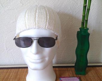 Woolen men Hat Merino and cashmere, white