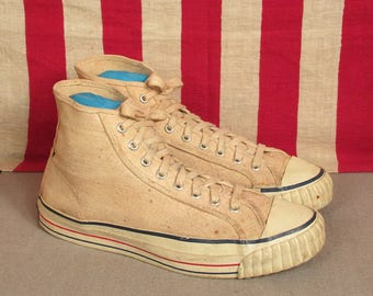 Vintage 1950s CanVees White Canvas Basketball Sneakers Shoes High-Top Size 9.5