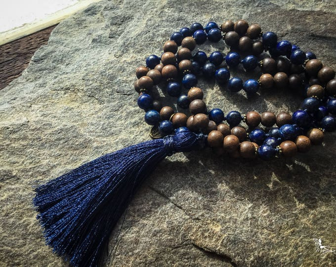 Lapis Lazuli Knotted Mala beads mantra japa meditation necklace 8mm bohemian yoga jewelry handmade