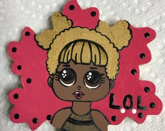 LOL doll hand painted ornament.  Wooden christmas ornament. LOL Dolls, fandom ornament