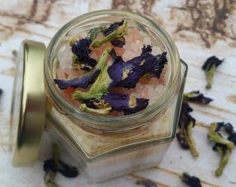 Organic Bath Salts, All Natural Bath Salt, Orange and Lemon Bath Soak, Natural Dye, Organic Essential Oils, Organic Flowers, Gifts for her.