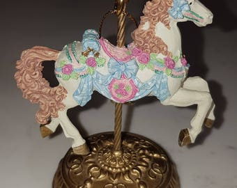Vintage carousel horse musical ornament, San Francisco Musical Box Company, vintage tree ornament, musical ornament, carousel horse.