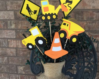 Construction Theme Centerpieces - Set of 6 / Construction Theme Birthday Decorations / Construction Theme Babyshower Decorations / Road Work
