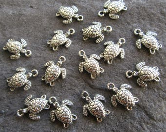 15 Cute Double Sided Turtle Charms, Terrapin, Antique Silver Metal Jewellery Making 16mm