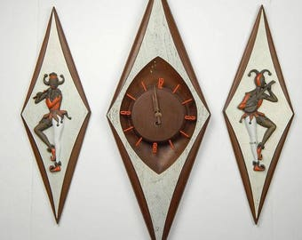 Mid Century Diamond Clock and Jester Set, Burnwood, Made in the USA