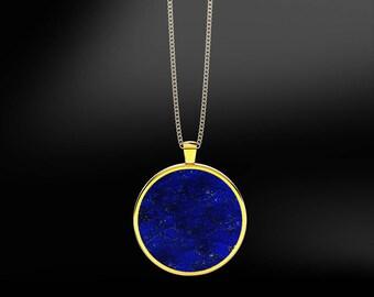 Lapis Lazuli in 18K Gold or Silver Pendant