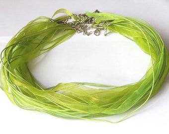 1 green organza necklace bronze with lobster clasp 47cm