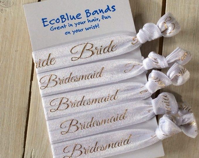 Hair elastics, soft stretch hair ties, ponies, yoga hair ties, ponytail holders - Bride and bridesmaids (white)
