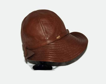 50's brimmed leather hat