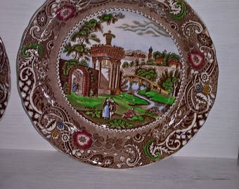 "Vintage 10"" Large Serving Dinner Plate Midwinter Landscape Burslem England Circa 1910-1930 Antique Transfareware Dining Kitchen Display Home"