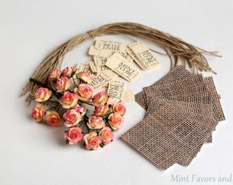 mint to be wedding mints DIY kit with tags, roses, twine and wraps