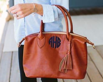 Monogrammed Handbag, Tassel Purse, Personalized Bag