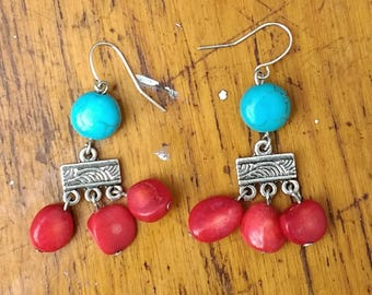 Turquoise & Red Dangle Earrings