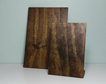 Wooden Earring Display - Jewelry Stand - Walnut Stain