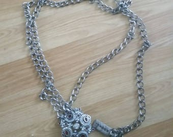 1 Very Long Silver Plated Chain Belt for upcycling