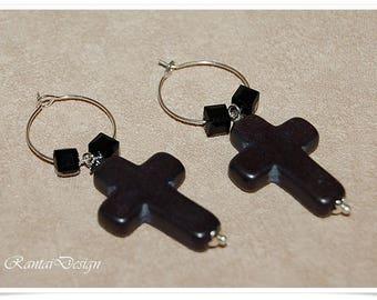 Silver Earrings Women's earrings black Cross