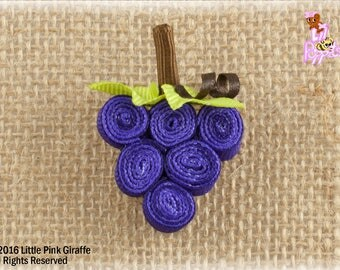 Lil' Poppet™ Grapes  Ribbon Sculpture Hair Clip or Brooch Pin