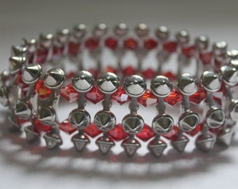 Red and silver stud bracelet #sale