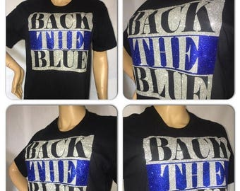 ON SALE Police Support glittertee/ Back the Blue / Law enforcement tshirt