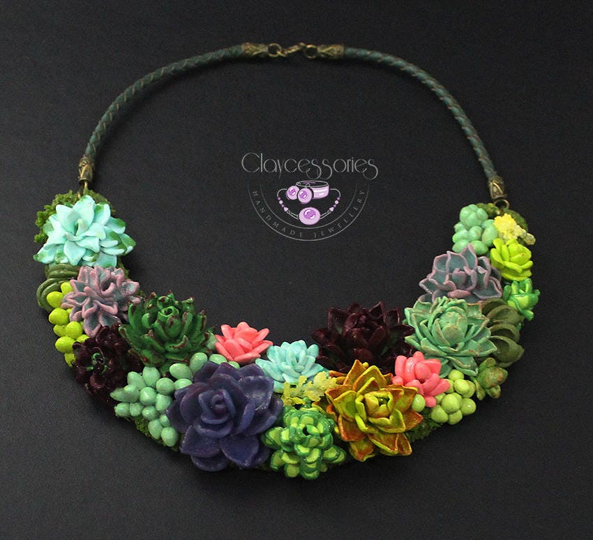 Succulent necklace Plant necklace Cactus necklace Botanical necklace Bib necklace Statement necklace Floral necklace Choker necklace