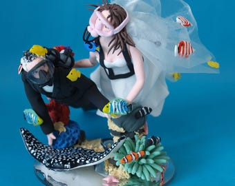 Personalised Scuba Diving Couple with Octopus or Ray Wedding Cake Topper