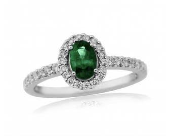 Emerald & Diamond 18ct Gold Ring