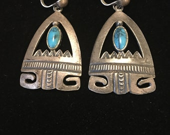 vintage 1950's Sancrest silver and turquoise earrings