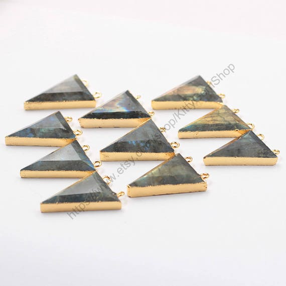 Double bails labradorite triangle pendants with for Triangle wholesale printing