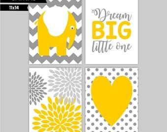 Yellow Grey Nursery canvas wall art prints,  Elephants, Dream Big Little One (S11141)