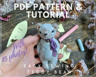 PDF Sewing Pattern & TUTORIAL Artist Teddy Bear 4 Inches Easy Sewing Stuffed Animal Instant Download Pdf Sewing Pattern