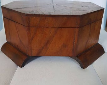 Art Deco Mahogany Hexagonal Jewellery Box