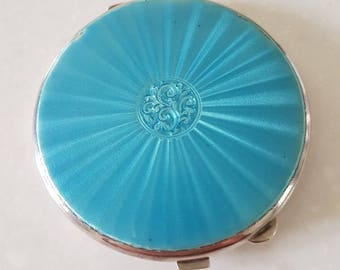Solid Silver and Guilloche Enamel Compact
