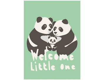 Babyshower card - Welcome little one!  - cute loving panda family - boy and girl babyshower card - green black and white