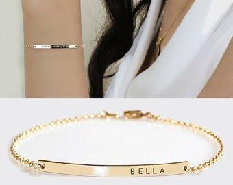 Personalized Gold  Bar bracelet, Custom Name Bracelet, Engraved Bracelet, Initial Nameplate Bracelet, Monogram Bracelet, Bridesmaids Gift