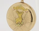 14K Gold Elfin Pocket Watch Elk