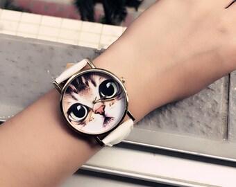 Women Lovely Cat Watch