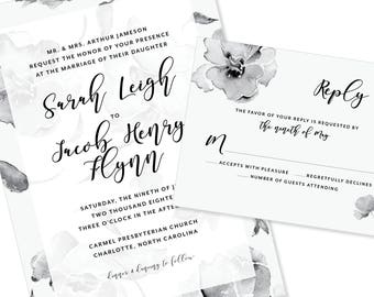 Soft Watercolor Floral | Wedding Invitation | DIY Option Available | Invitation | RSVP | Info Card #1232