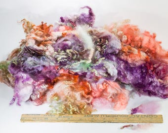 Romney Lamb Locks Kettle Dyed in Oranges, Purples, Greens for Locks Spinning, Felting, Weaving