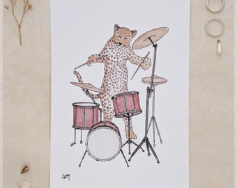 The Leopard & Her Drumkit ~ A5 Art Print from Original Ink and Watercolour Painting