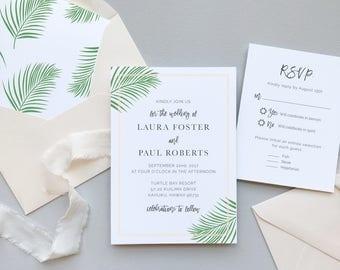 Soft Tropical Palm Leaf Invitation Suite / Letterpress or Digital Printing / Modern Paradise Palm Leaves / #1112