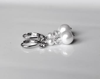 Wedding Stud Earrings swarovski Pearl Earrings white (or ivory upon request) and Crystal bridal party