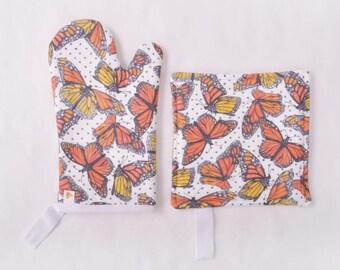 Monarch Butterfly Oven Mitt/Pot Holder Combo