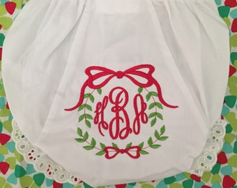 Monogrammed Christmas Bloomers,monogrammed diaper cover, personalized baby gift- Sweet Laurel Wreath, christmas diaper cover
