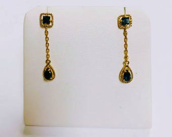 Super cute delicate Blue Sapphire Dangle Earrings