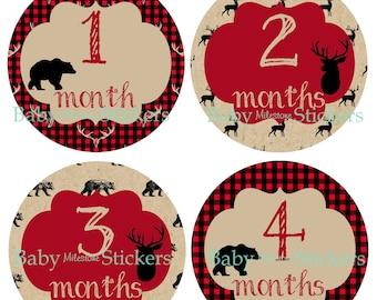 LUMBERJACK Woodland Stickers Baby Boy Monthly Stickers, Baby Month Stickers, Bodysuit Sticker Woodland Nursery Decor Buffalo Plaid Deer Bear