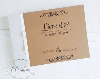 Wedding Guest book  {Kraft # 2} brown and ivory